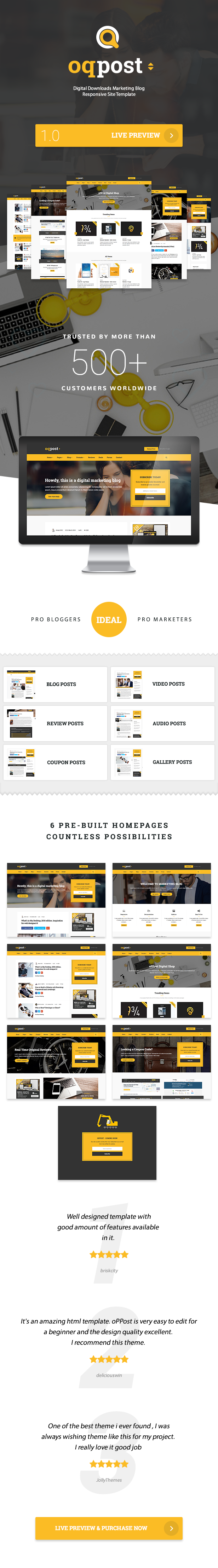 oPPost | Digital Downloads Marketing Blog Responsive WordPress Theme