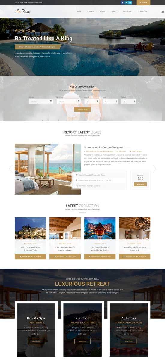 Rays – HTML Template for Spa, Resorts and Hotels