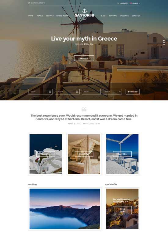 Santorini Resort – Responsive Hotel Template