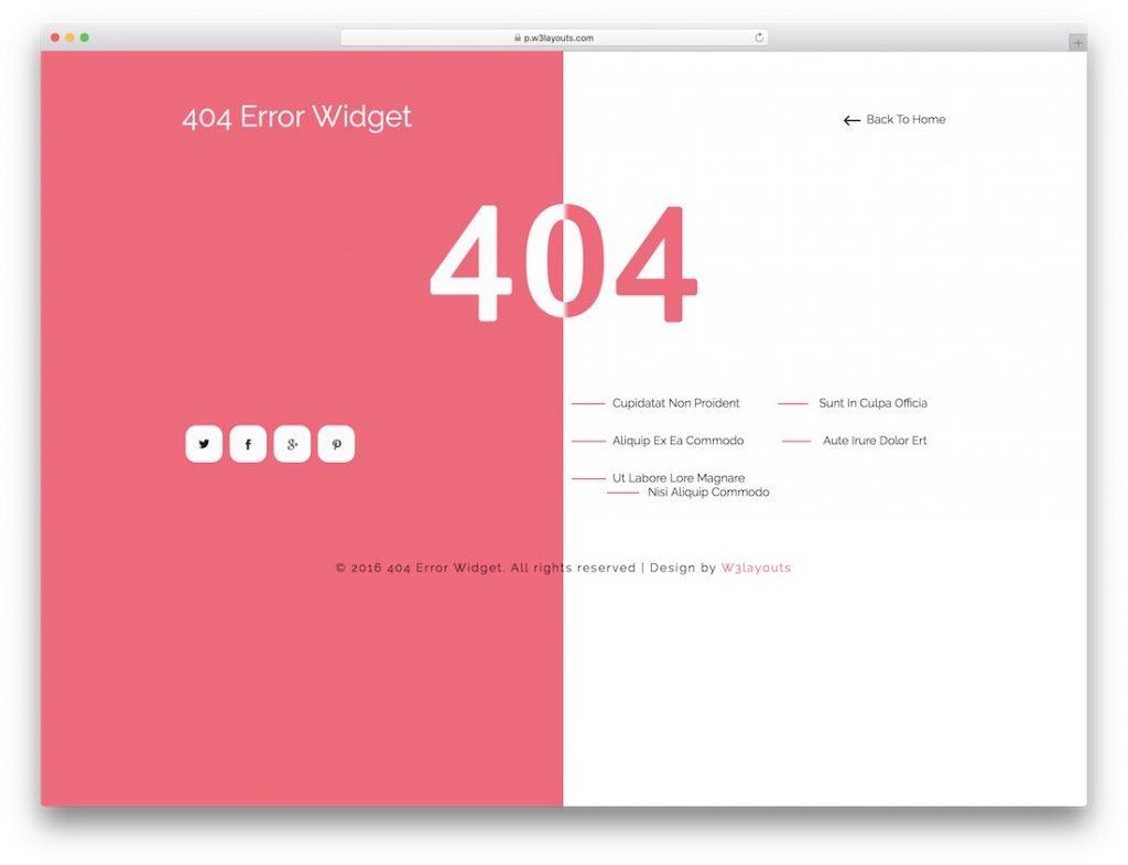 404 Error Widget