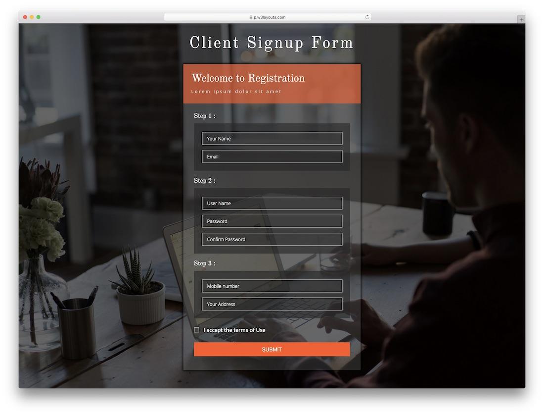Client Signup Form